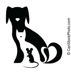 divertente, cane, gatto mouse, composizione