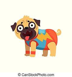 divertente, cane pug, carattere, in, uno, superhero, costume, vettore, illustrazione, su, uno, sfondo bianco