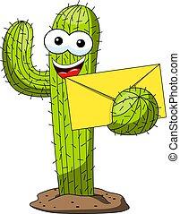 divertente, carattere, busta, isolato, vettore, posta, notizie, cactus, cartone animato