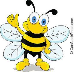divertente, carattere, cartone animato, ape