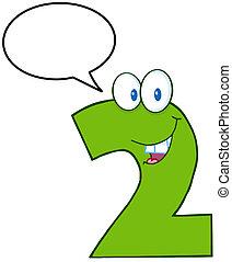 divertente, carattere, cartone animato, due, numero