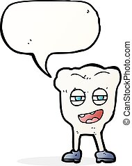 divertente, carattere, dente, bolla discorso, cartone animato