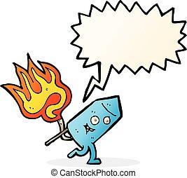 divertente, carattere, firework, bolla discorso, cartone animato