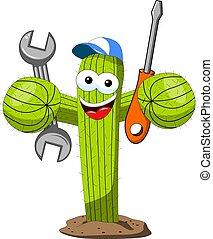 divertente, carattere, lavoratore, isolato, vettore, cactus, riparatore, cartone animato