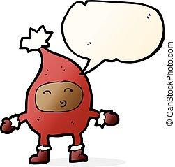 divertente, carattere, natale, bolla discorso, cartone animato