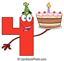 divertente, carattere, numero, su, quattro, compleanno, presa a terra, torta, cartone animato, rosso, mascotte