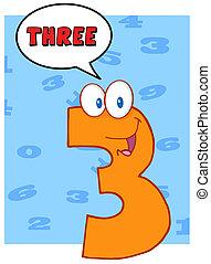 divertente, carattere, numero tre