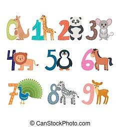 divertente, carino, infantile, count., illustrazione, animals., numeri, imparare, cartone animato