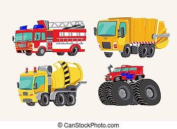 divertente, carino, mano, disegnato, cartone animato, vehicles., luminoso, cartone animato, camion fuoco, autopompa antincendio, camion dell'immondezza, mescolatore concreto, camion, e, mostro, truck., trasporto, bambino, articoli, vettore, illustrazione, su, luce, fondo