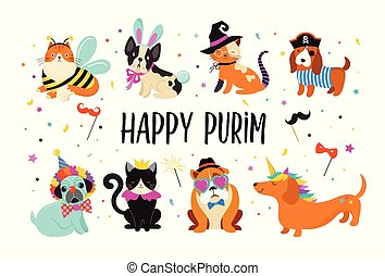 divertente, carnevale, colorito, carino, costumi, illustrazione, animali, cani, purim, vettore, gatti, bandiera, pets., felice