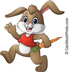 divertente, carota, coniglio, presa a terra, cartone animato
