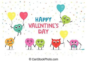 divertente, cartolina auguri, felice, giorno valentine