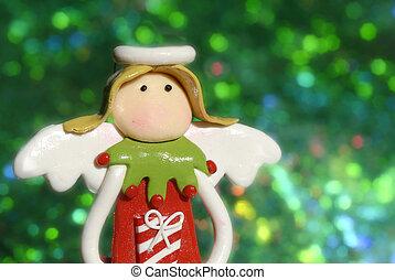 divertente, cartoline auguri, angelo, natale