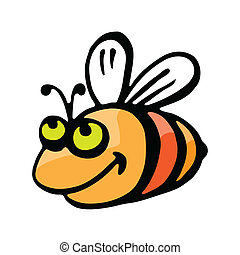 divertente, cartone animato, bee.