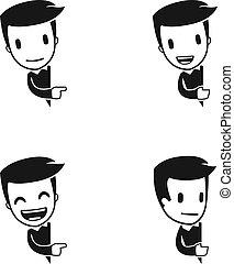 divertente, cartone animato, benefattore, uomo