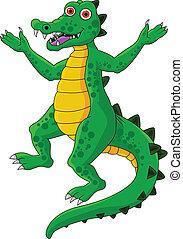 divertente, cartone animato, coccodrillo