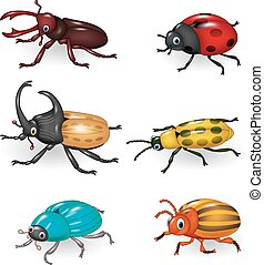 divertente, cartone animato, collezione, scarabeo