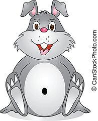 divertente, cartone animato, coniglio