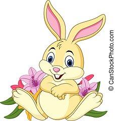 divertente, cartone animato, coniglio, seduta