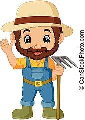 divertente, cartone animato, contadino