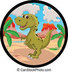divertente, cartone animato, dinosauro