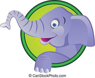 divertente, cartone animato, elefante