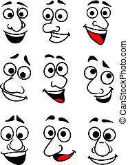 divertente, cartone animato, facce, set