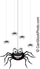 divertente, cartone animato, famiglia, ragno