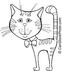 divertente, cartone animato, gatto