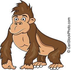 divertente, cartone animato, gorilla
