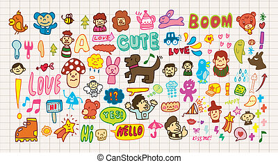 divertente, cartone animato, icona