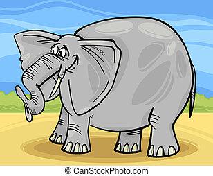 divertente, cartone animato, illustrazione, elefante