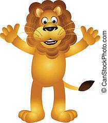 divertente, cartone animato, leone