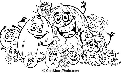 divertente, cartone animato, libro colorante, frutte