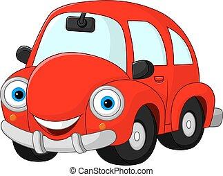 divertente, cartone animato, macchina rossa