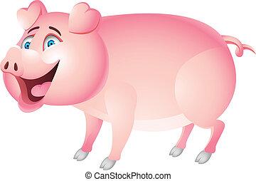 divertente, cartone animato, maiale