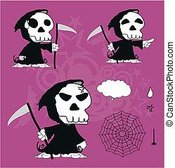 divertente, cartone animato, morto, set1