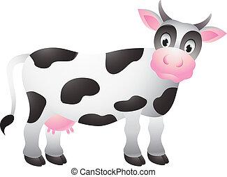 divertente, cartone animato, mucca