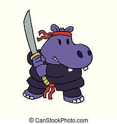 divertente, cartone animato, ninja, ippopotamo