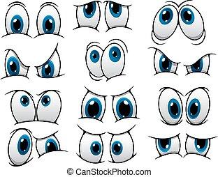 divertente, cartone animato, occhi, set
