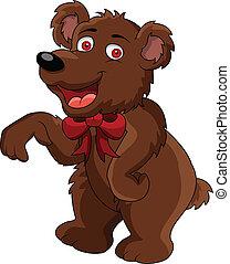 divertente, cartone animato, orso