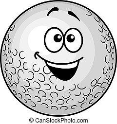 divertente, cartone animato, palla golf