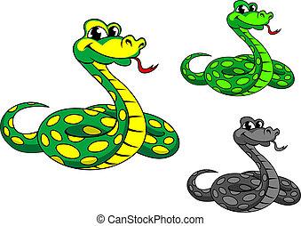 divertente, cartone animato, pitone, serpente