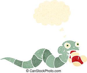 divertente, cartone animato, retro, serpente