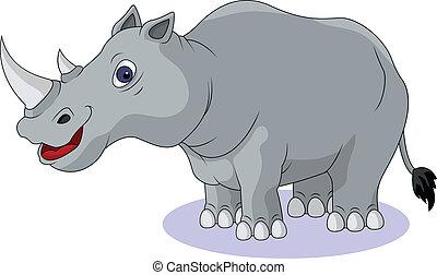 divertente, cartone animato, rinoceronte