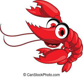 divertente, cartone animato, rosso, gamberetto
