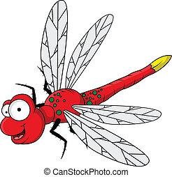 divertente, cartone animato, rosso, libellula