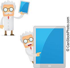 divertente, cartone animato, scienziato, con, uno, laptop