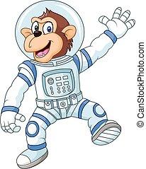 divertente, cartone animato, scimmia