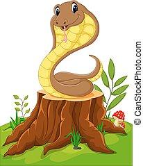 divertente, cartone animato, serpente